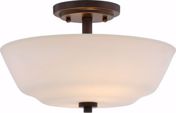Picture of NUVO Lighting 60/5906 Willow - 2 Light Semi Flush Fixture with White Glass