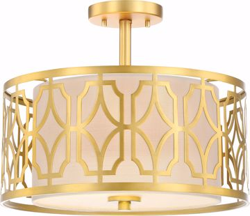 Picture of NUVO Lighting 60/5937 Filigree - 2 Light Semi Flush Mount - Natural Brass Finish - Beige Linen Fabric Shade