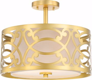 Picture of NUVO Lighting 60/5967 Filigree - 2 Light Semi Flush Mount - Natural Brass Finish - Beige Linen Fabric Shade