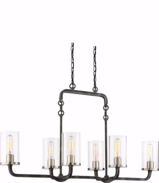 Picture of NUVO Lighting 60/6124 6 Light - Sherwood Island Pendant - Iron Black with Brushed Nickel Accents Finish - Clear Glass - Lamps Included