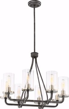 Picture of NUVO Lighting 60/6128 8 Light - Sherwood Chandelier - Iron Black with Brushed Nickel Accents Finish - Clear Glass - Lamps Included