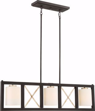 Picture of NUVO Lighting 60/6133 3 Light - Boxer Island Pendant - Matte Black with Antique Silver Accents Finish - Satin White Glass