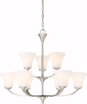Picture of NUVO Lighting 60/6209 Fawn 9 Light Chandelier Fixture - Brushed Nickel Finish