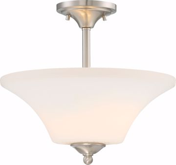 Picture of NUVO Lighting 60/6212 Fawn 2 Light Semi Flush Fixture - Brushed Nickel Finish