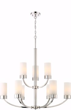 Picture of NUVO Lighting 60/6229 Denver 9 Light Chandelier Fixture - Polished Nickel Finish