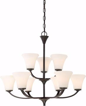Picture of NUVO Lighting 60/6309 Fawn 9 Light Chandelier Fixture - Mahogany Bronze Finish
