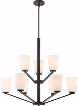 Picture of NUVO Lighting 60/6349 Nome 9 Light Chandelier Fixture - Mahogany Bronze Finish