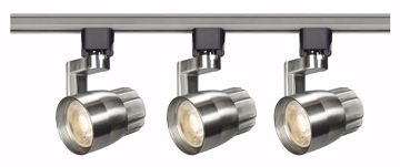 Picture of NUVO Lighting TK427 Track Lighting Kit; 12 watt LED; 3000K; 36 degree; Round shape with angle arm; Brushed nickel finish