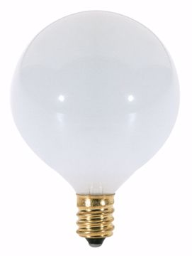 Picture of SATCO S3271 60W G16 1/2 CAND GLOSSY WHITE Incandescent Light Bulb
