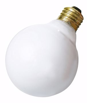 Picture of SATCO S3653 25W G-30 WHITE MED BASE Incandescent Light Bulb