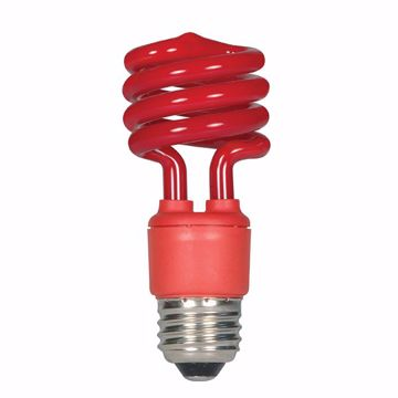 Picture of SATCO S5512 13T2/E26/RED/120V/1BL Compact Fluorescent Light Bulb