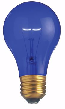Picture of SATCO S6082 25W A19 TRANS. BLUE 130V Incandescent Light Bulb
