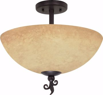 "Picture of NUVO Lighting 60/042 Tapas - 3 Light - 16"" - Semi-Flush - with Tuscan Suede Glass"