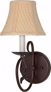 "Picture of NUVO Lighting 60/049 Tapas - 1 Light - 7"" - Sconce - with Linen Waffle Shade"