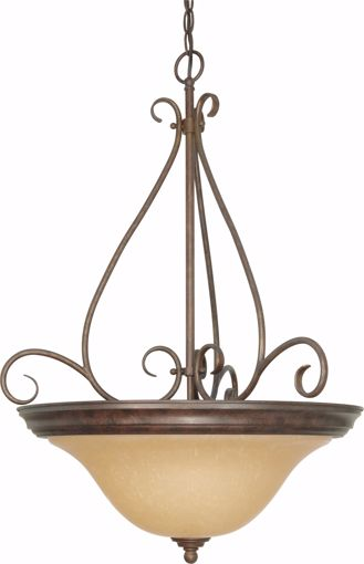 """Picture of NUVO Lighting 60/1028 Castillo - 3 Light - 19"""" - Pendant - with Champagne Linen Washed Glass"""