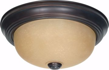 """Picture of NUVO Lighting 60/1255 2 Light 11"""" Flush Mount with Champagne Linen Washed Glass"""