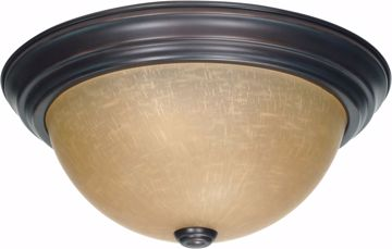 """Picture of NUVO Lighting 60/1256 2 Light 13"""" Flush Mount with Champagne Linen Washed Glass"""