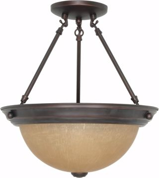 "Picture of NUVO Lighting 60/1259 2 Light 13"" Semi Flush with Champagne Linen Washed Glass"