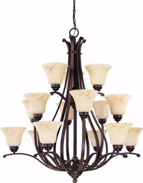 "Picture of NUVO Lighting 60/1404 Anastasia - 15 Light 3 Tier 38"" Chandelier with Honey Marble Glass"