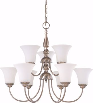"Picture of NUVO Lighting 60/1823 Dupont - 9 light 2 Tier 27"" Chandelier with Satin White Glass"