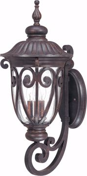 Picture of NUVO Lighting 60/2061 Corniche - 3 Light Large Wall Lantern Arm Up with Seeded Glass