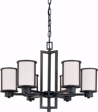 Picture of NUVO Lighting 60/2975 Odeon - 6 Light (convertible up/down) Chandelier with Satin White Glass