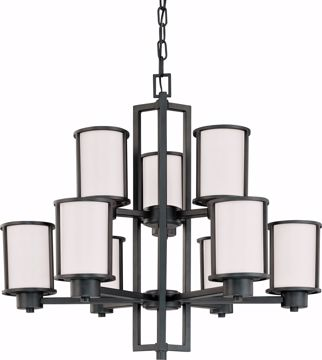 Picture of NUVO Lighting 60/2979 Odeon - 6 + 3 Light Chandelier with Satin White Glass