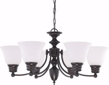 "Picture of NUVO Lighting 60/3169 Empire - 6 Light 26"" Chandelier with Frosted White Glass"