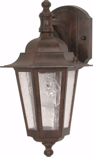 """Picture of NUVO Lighting 60/3474 Cornerstone - 1 Light - 13"""" - Wall Lantern - Arm Down with Clear Seed Glass; Color retail packaging"""