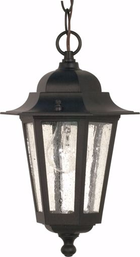 "Picture of NUVO Lighting 60/3476 Cornerstone - 1 Light - 13"" - Hanging Lantern - with Clear Seed Glass; Color retail packaging"