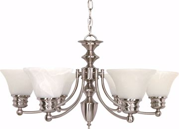 "Picture of NUVO Lighting 60/356 Empire - 6 Light - 26"" - Chandelier - with Alabaster Glass Bell Shades"
