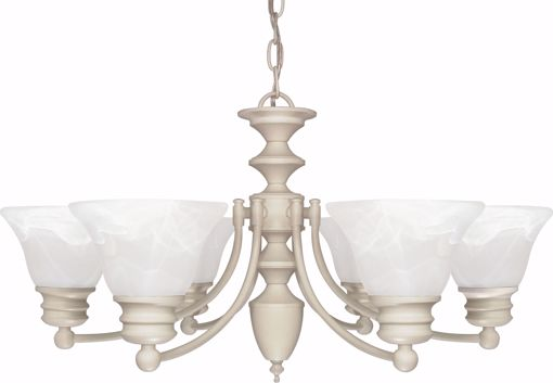 """Picture of NUVO Lighting 60/359 Empire - 6 Light - 26"""" - Chandelier - with Alabaster Glass Bell Shades"""