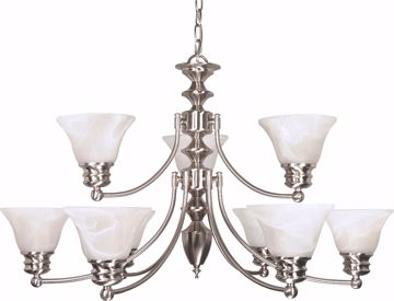 "Picture of NUVO Lighting 60/360 Empire - 9 Light - 32"" - Chandelier - with Alabaster Glass Bell Shades; 2 Tier"