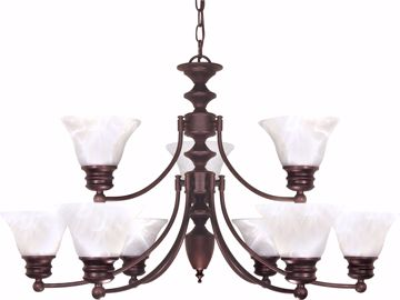"Picture of NUVO Lighting 60/362 Empire - 9 Light - 32"" - Chandelier - with Alabaster Glass Bell Shades; 2 Tier"