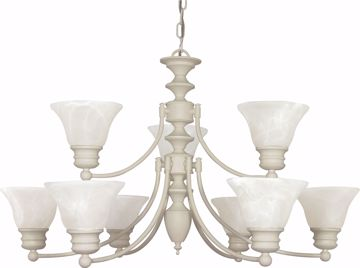 "Picture of NUVO Lighting 60/363 Empire - 9 Light - 32"" - Chandelier - with Alabaster Glass Bell Shades; 2 Tier"