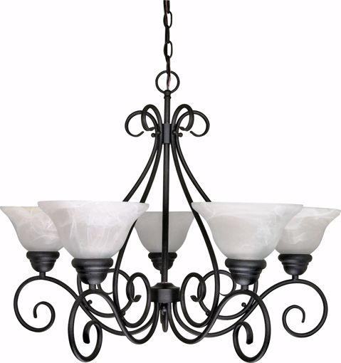 """Picture of NUVO Lighting 60/380 Castillo - 5 Light - 28"""" - Chandelier - with Alabaster Swirl Glass"""
