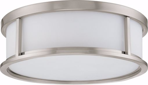 """Picture of NUVO Lighting 60/3812 Odeon ES - 3 Light 15"""" Flush Dome with White Glass - (3) 13w GU24 Lamps Included"""