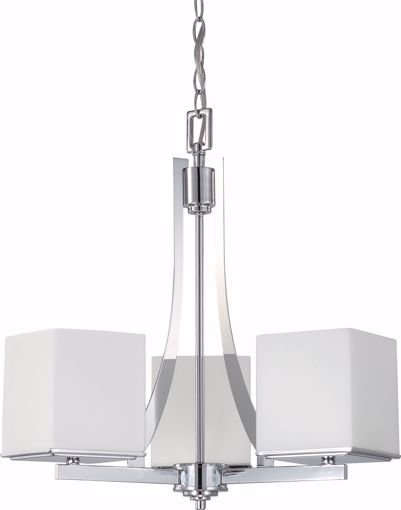 Picture of NUVO Lighting 60/4085 Bento - 3 Light Chandelier with Satin White Glass