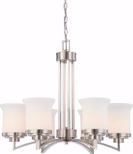 Picture of NUVO Lighting 60/4105 Harmony - 6 Light Chandelier with Satin White Glass