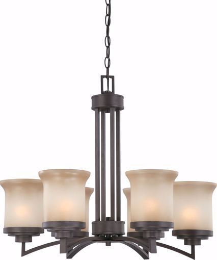 Picture of NUVO Lighting 60/4125 Harmony - 6 Light Chandelier with Saffron Glass