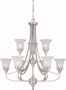 Picture of NUVO Lighting 60/4149 Surrey - 9 Light Two Tier Chandelier with Frosted Glass