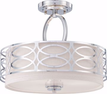 Picture of NUVO Lighting 60/4629 Harlow - 3 Light Semi Flush Fixture with Slate Gray Fabric Shade