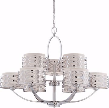 Picture of NUVO Lighting 60/4630 Harlow - 9 Light Chandelier with Slate Gray Fabric Shades
