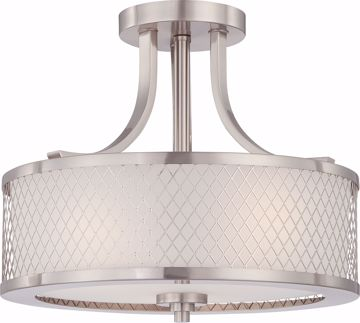 Picture of NUVO Lighting 60/4692 Fusion - 3 Light Semi Flush Fixture with Frosted Glass