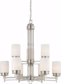 Picture of NUVO Lighting 60/4709 Wright - 9 Light Chandelier with Satin White Glass