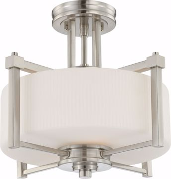 Picture of NUVO Lighting 60/4713 Wright - 2 Light Semi Flush Fixture with Satin White Glass