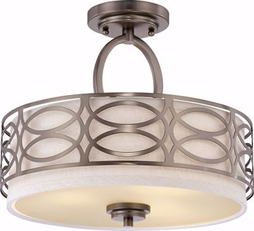 Picture of NUVO Lighting 60/4729 Harlow - 3 Light Semi Flush Fixture with Khaki Fabric Shade