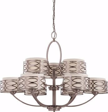 Picture of NUVO Lighting 60/4730 Harlow - 9 Light Chandelier with Khaki Fabric Shades