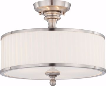 Picture of NUVO Lighting 60/4737 Candice - 3 Light Semi Flush Fixture with Pleated White Shade