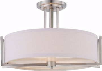 Picture of NUVO Lighting 60/4758 Gemini - 3 Light Semi Flush Fixture with Slate Gray Fabric Shade